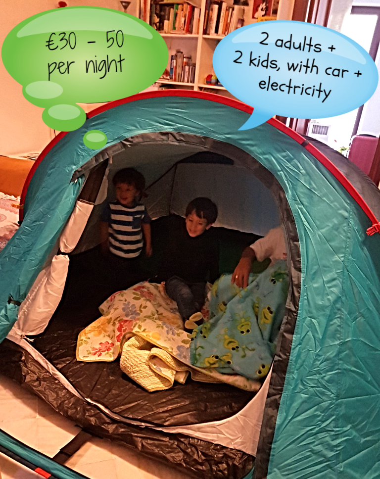 €30-50 per night for family of four, camping in a tent, europe in the summer